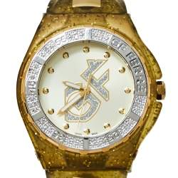 Gianfranco Ferre Yellow Gold Plated Stainless Steel Rubber Diamond GF.9024J Women's Wristwatch 45 mm