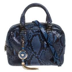 Versace Blue Python Satchel