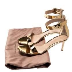 Gianvito Rossi Gold Metallic Leather Portofino Ankle Strap Sandals 38