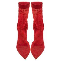 Gianvito Rossi Red Suede And Lace Pointed Toe Ankle Booties Size 38