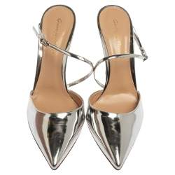 Gianvito Rossi Silver Leather Manhattan Pointed Toe Ankle Strap Sandals Size 39.5