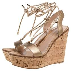 Gianvito Rossi Metallic Gold Leather Wedge Platform Ankle Wrap Sandals Size 40