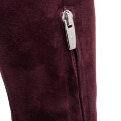 Gianvito Rossi Burgundy Suede Knee High Boots Size 36