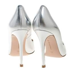 Gianvito Rossi Silver Leather Pointed Pumps Size 36