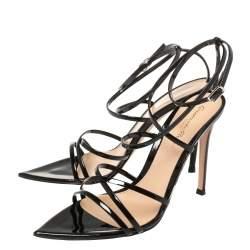 Gianvito Rossi Black Patent Leather Kim Cross Ankle Strap Sandals Size 37