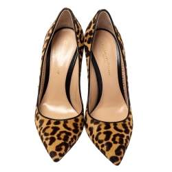 Gianvito Rossi Leopard Print Pony Hair Pointed Toe Pumps Size 36
