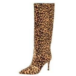 Gianvito Rossi Beige Leopard Print Calfhair Hunter Boots Size 36.5