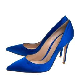 Gianvito Rossi Royal Blue Satin Pointed Toe Pumps Size 39.5