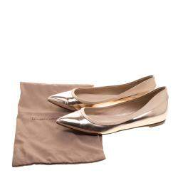 Gianvito Rossi Rose Gold Metallic Leather Pointed Toe Ballet Flats Size 37