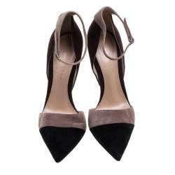Gianvito Rossi Tricolor Suede Ankle Strap D'orsay Pointed Toe Pumps Size 36.5
