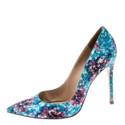 Gianvito Rossi For Mary Katrantzou Multicolor Floral Printed Fabric Lisa Ponker Pointed Toe Pumps Size 38.5