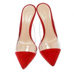 Gianvito Rossi Red Suede and PVC Plexi Pointed Toe Mule Sandals Size 37.5