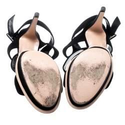 Gianvito Rossi Black Suede Ankle Strap Platform Sandals Size 40