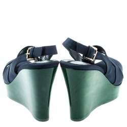 Gianvito Rossi Blue Fabric Backstrap Open Toe Wedge Sandals Size 37