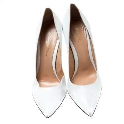 Gianvito Rossi White Leather Pointed Toe Pumps Size 38