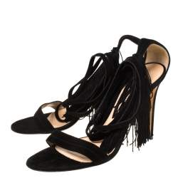 Gianvitto Rossi Black Suede Olivia Fringe Ankle Wrap Sandals Size 40