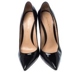 Gianvito Rossi Black Patent Leather Gianvito Pointed Toe Pumps Size 37.5