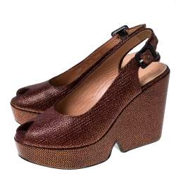 Gianvitto Rossi Golden Brown Lame Peep Toe Platform Wedge Sandals Size 38.5
