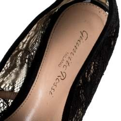 Gianvito Rossi Black Lace And Suede Leather Trim Cork Flats Size 36.5