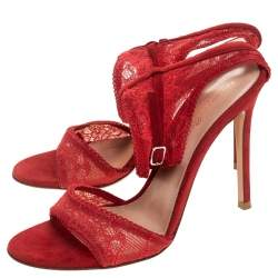 Gianvito Rossi Red Lace And Suede Ankle Strap Sandals Size 38
