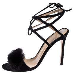 Gianvito Rossi Black Suede And Mink Trim Zelda Ankle Wrap Sandals Size 38