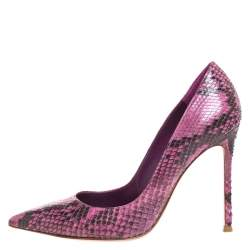 Gianvito Rossi Pink Python Pointed Toe Pumps Size 38