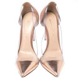 Gianvito Rossi Brown Suede Leather And PVC Plexi Pointed Toe Pumps Size 36.5