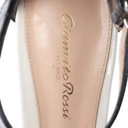Gianvito Rossi Monochrome Patent Leather Ankle Strap Sandals Size 40.5