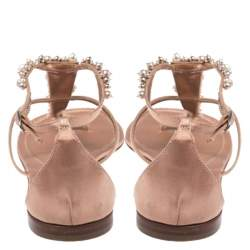 Gianvito Rossi Beige Satin Beaded Thong Ankle Strap Flats Size 38.5