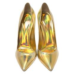 Gianvito Rossi Holographic Gold Leather Pointed Toe Pumps Size 40