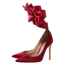 Gianvito Rossi Red Satin Gala Ankle Wrap Pumps Size 37