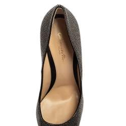 Gianvito Rossi Suede Leather Silver Crystal Embellished Lennox Pointed Toe Size 38