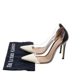 Gianvito Rossi Black/White Leather And PVC Plexi Pointed Toe Pumps Size 36