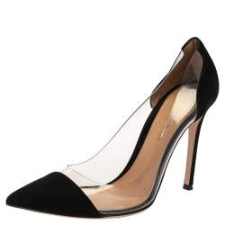 Gianvito Rossi Black Suede And PVC Plexi Pumps Size 38