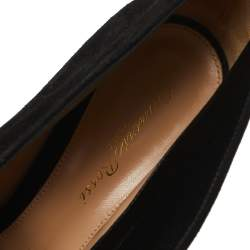 Gianvito Rossi Black Suede Vamp Peep Toe Booties Size 39