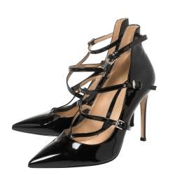 Gianvito Rossi Black Patent Leather Crisscross Pointed Toe Pumps Size 37.5