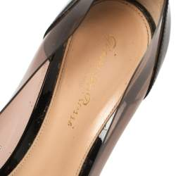 Gianvito Rossi Black Patent Leather And PVC Plexi Pointed Toe Pumps Size 38