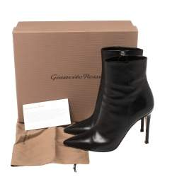Gianvito Rossi Black Leather Zipper Ankle Boots Size 36.5