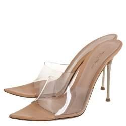 Gianvito Rossi PVC Leather Elle Slide Sandals Size 40