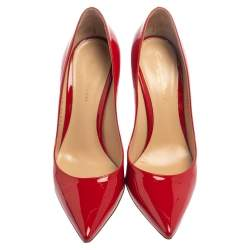 Gianvito Rossi Red Patent Leather Pointed Toe Pumps Size 37.5