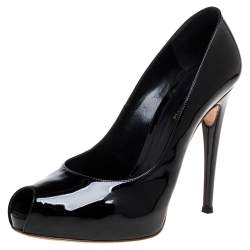 Gianvito Rossi Black Patent Leather Peep Toe Platform Pumps Size 41