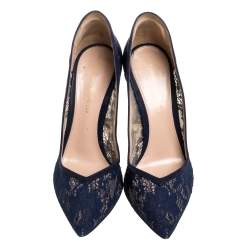 Gianvito Rossi Blue Suede And Lace Pointed Toe Pumps Size 37