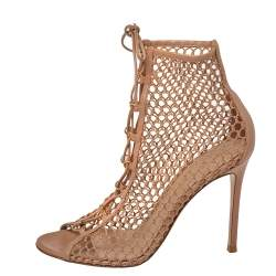 Gianvito Rossi Beige Mesh And Leather Helena Lace Up Crochet Booties Size 39