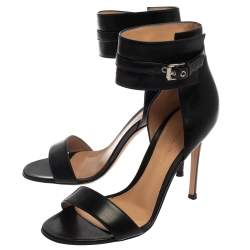 Gianvito Rossi Black Leather Ankle Strap  Open Toe Sandals Size 37