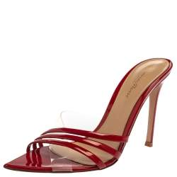 Gianvito Rossi Red Patent Leather and PVC Slide Sandals Size 37.5
