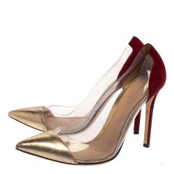 Gianvito Rossi Gold/Burgundy Suede, Leather And PVC Plexi Pumps Size 38.5
