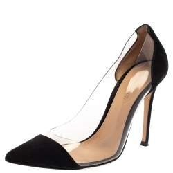 Gianvito Rossi Black Suede Leather And PVC Plexi Pointed Toe Pumps Size 36