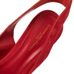 Gianvito Rossi Red Suede Leather Peep Toe Slingback Sandals Size 41