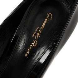 Gianvito Rossi Black Patent Leather Peep Toe Pumps Size 39.5