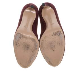 Gianvito Rossi Burgundy Suede Vamp Peep Toe Booties Size 40
